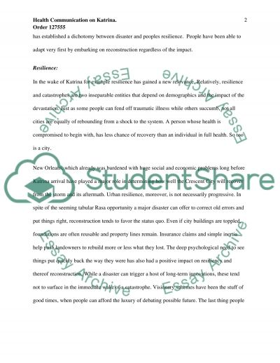 Health Communications Research Paper on Hurricane Katrina essay example