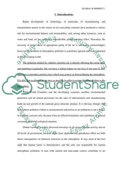Research paper on Global Warming