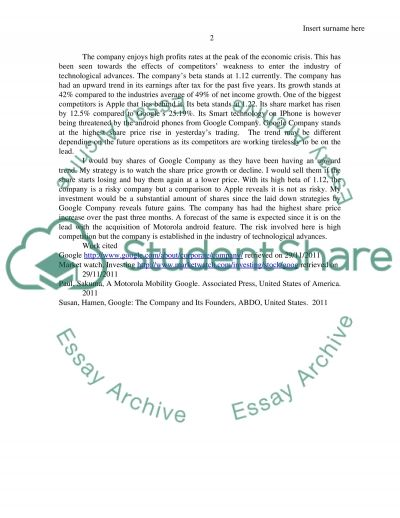 stock project Essay example