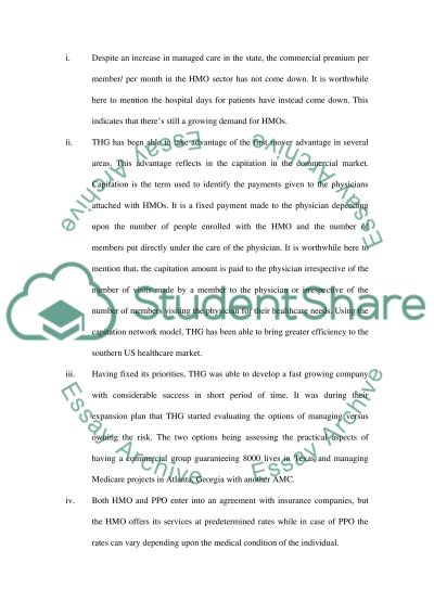 THG Management Services essay example