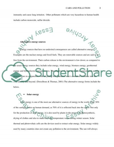 Cars and Pollution report essay example
