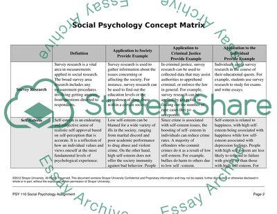 Social Psychology Concept Matrix