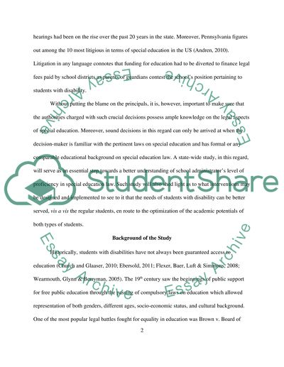 Chapter 1 of dissertation on building level principals knowledge of special education law