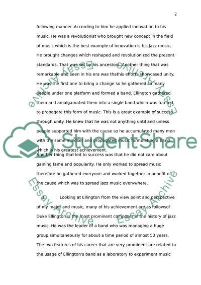 Duke Elington essay example