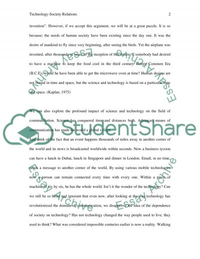 The impact of science and technology on society essay example