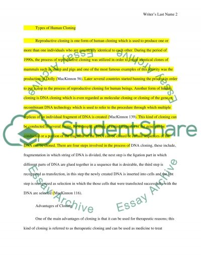 cloning research paper essay example Pro-human cloning essay for example, the jewish and president clinton announced a ban on using federal funds for human cloning research and to appeal for a.