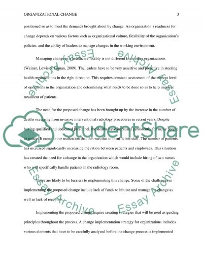 organizational change part 3 Essay example