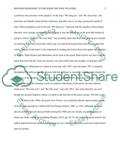 reading response to the poem the pool players essay reading response to the poem the pool players essay example