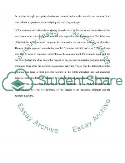 Marketing Managemant 6 essay example
