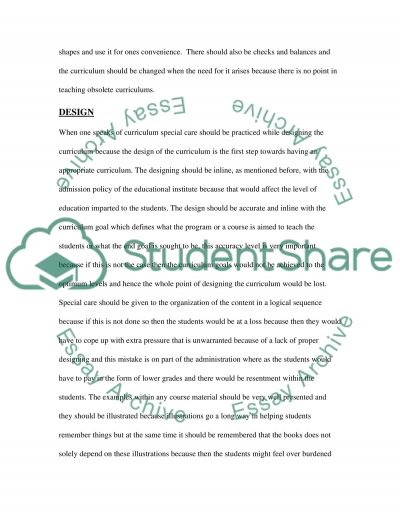 Curriculum checklist essay example