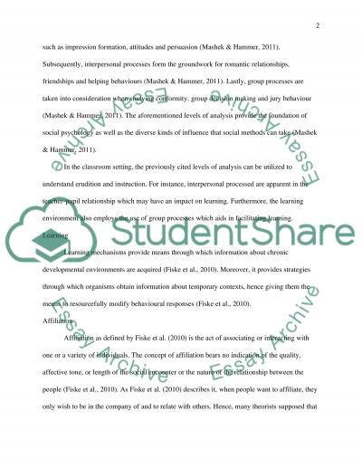 Social Psychology of the Learning Environment essay example