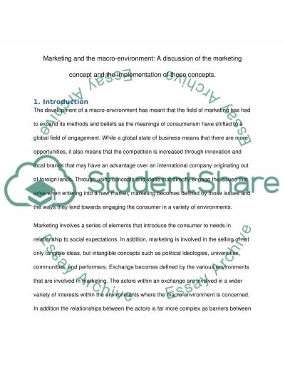 A Discussion of the Marketing Concept and the Implementation of those Concepts  Essay example