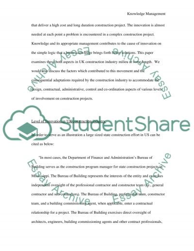 Knowledge managementl essay example