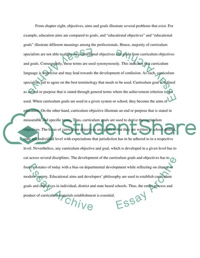 Curriculum Goals, Objectives, and Products