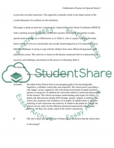Assignment based on 5 question interview between classroom assistant and SENCO on how collaborative practice works for child A u essay example