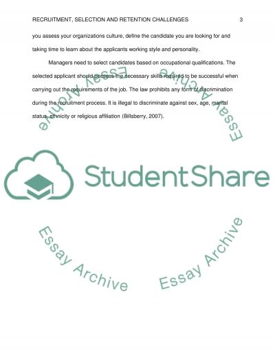 Recruitment, selection, and retention challenges essay example