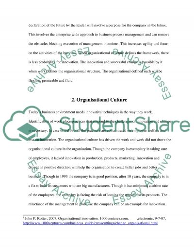 Innovation and Management of Change Essay example