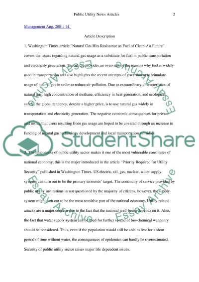 Table of Articles Essay example