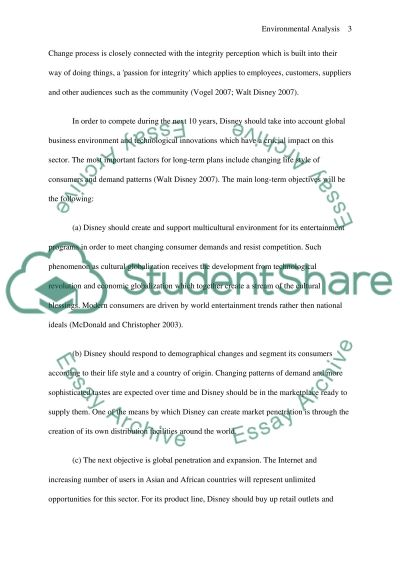 Environmental Analysis of Disney essay example
