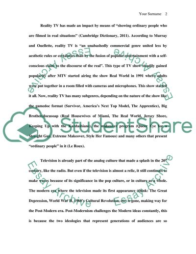 High School Entrance Essay Samples Reality Tv Shows And The American Identity The Postmodern Situation Narrative Essay Example High School also An Essay On Health Reality Tv Shows And The American Identity The Postmodern Situation  E Business Essay