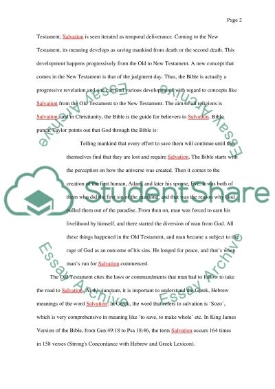 Salvation essay example