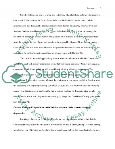 Theology of Creation and Eschatology essay example