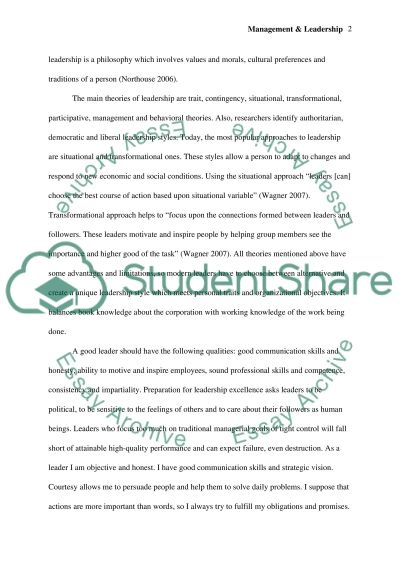 Management & Leadership Essay example