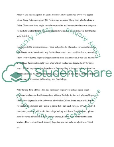 College Reinstatement Letter Admission/Application Essay