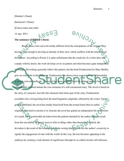 Movie Comparison Essay  Saving Private Ryan Essay also Persuasive Essay Examples 5th Grade The Summary Of Baldicks Thesis Essay Example  Topics And  Experience Essay Examples