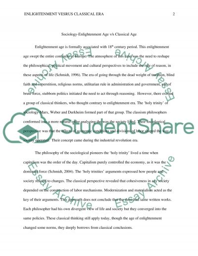 Sociology-Enlightenment Age v/s Classical Age essay example