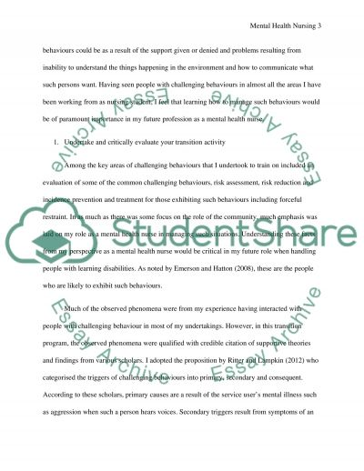Managing Challenging Behaviour in Mental Heath essay example