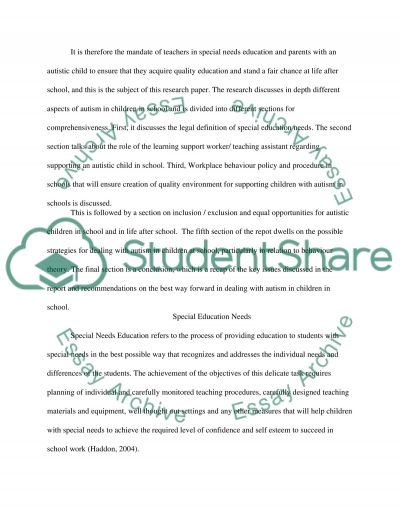 Autism in a Child at School essay example