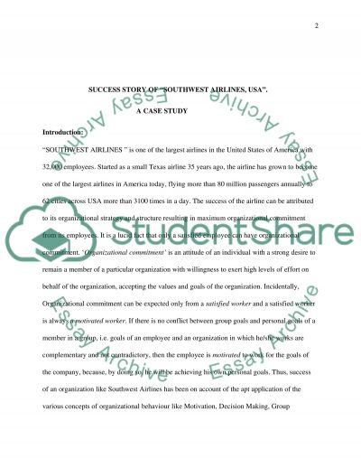 Case study-Southwest Airlines essay example