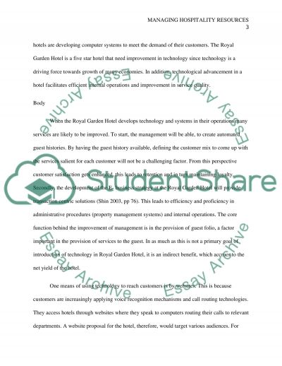 Managing Hospitality Resources Essay example