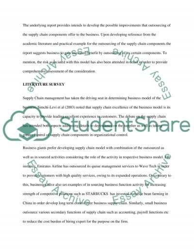 Supply chain design (major report) essay example