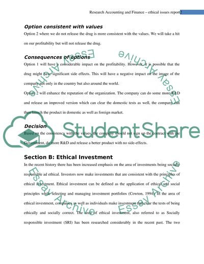 Research Accounting and Finance : ethical issues report