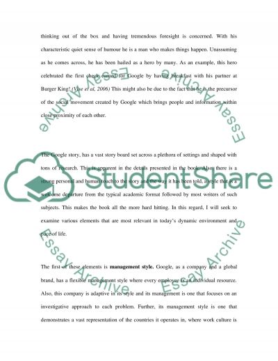 The Google Story Book Report essay example