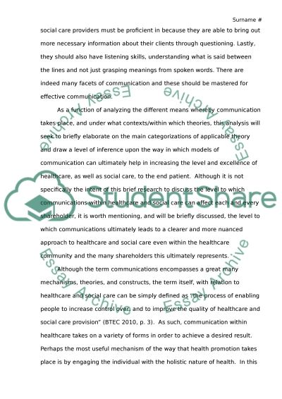 Effective communication skills are essential for working in health and social care Essay example