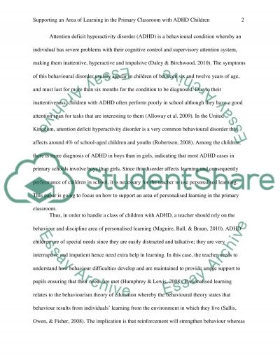 How to support an area of personalised learning in the primary classroom Children with ADHD disorder essay example