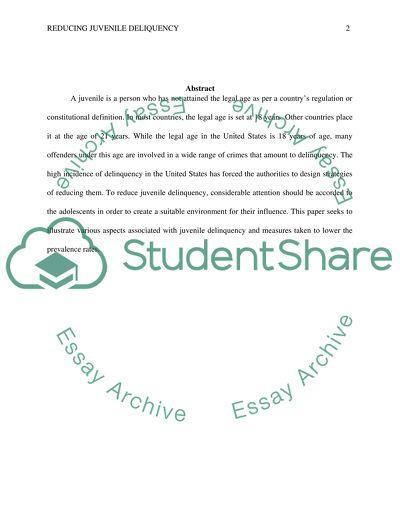 Reducing Juvenile Delinquency Essay Example  Topics And Well  Reducing Juvenile Delinquency