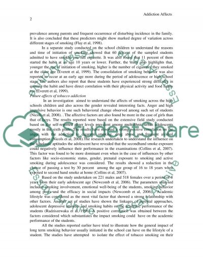 Addiction Affects      Essay example