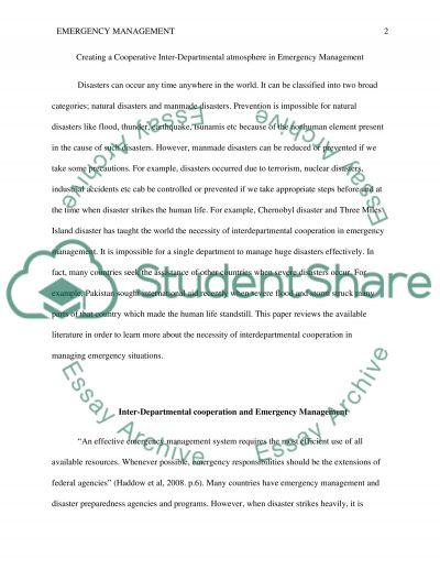 Creating a cooperative Inter-Departmental atmosphere in Emergency Management essay example