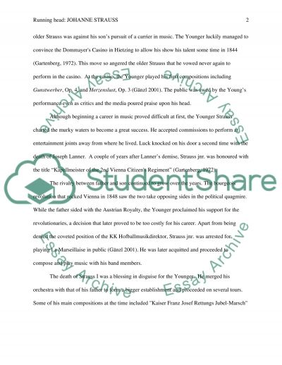 Johanne strauss (younger) essay example