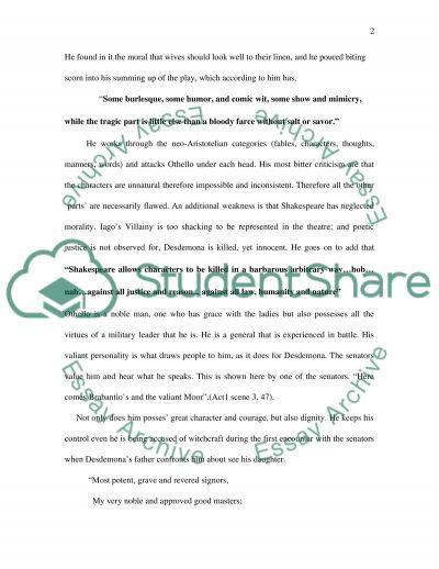 Shakespeares Othello essay example