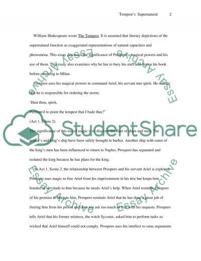 William Shakespeares The Tempest essay example