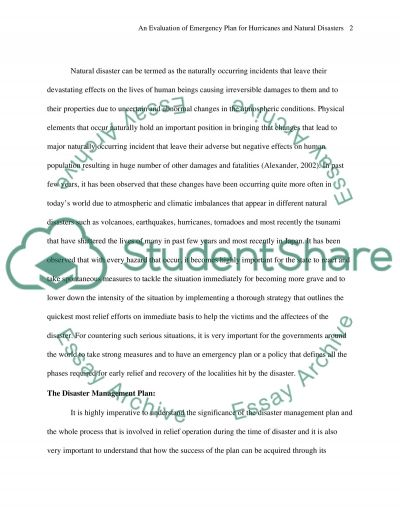 An Evaluation of Emergency Plan for Hurricanes and Natural Disasters essay example