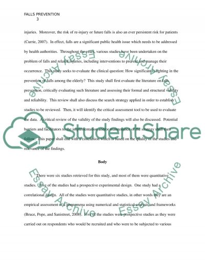 fall prevention and lighting Essay example