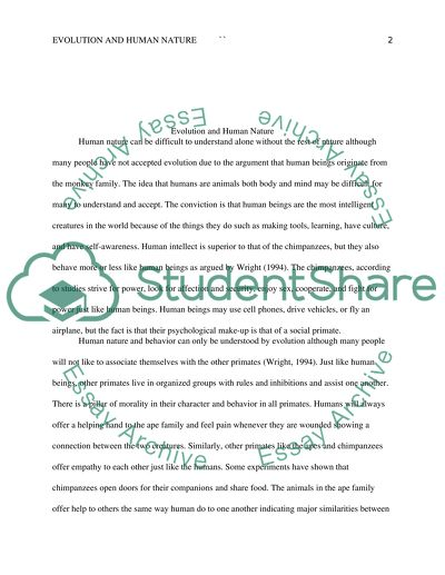Evolution and Human Nature Research Paper Example | Topics and Well ...