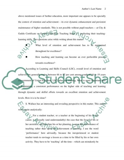 Major Educational Issues in Further Education essay example