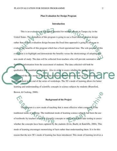 Plan Evaluation for Design Program essay example